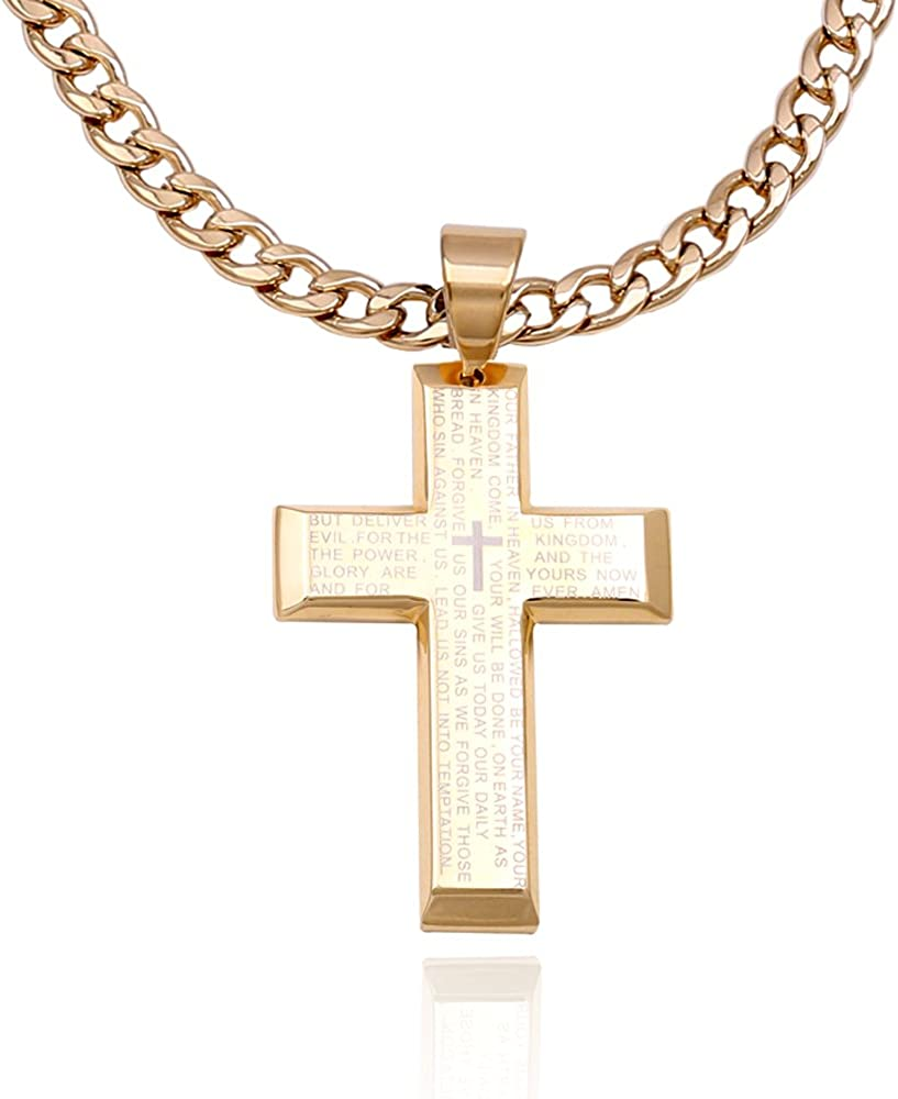 Men Stainless Steel Crucifix Cross Gold Silver Small Jesus Pendant P09
