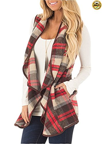 Greentree Womens Lapel Open Front Cotton Material Sleeveless Plaid Vest With Pockets (Red, (Cotton Plaid Vest)