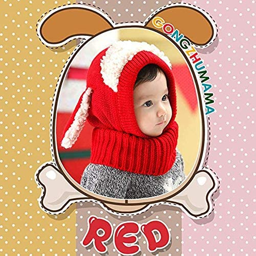 WIKEA Baby Girls Boys Toddler Winter Hat Scarf Set Cutest Earflap Hood Warm Knit Hat Scarves with Ears Snow Neck Warmer Cap for Kids 6-36 Months
