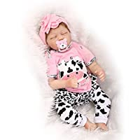 NPK Collection Reborn Baby Doll realistic baby dolls Vinyl Silicone Babies 22inch 55cm Newborn real baby doll Life Like Reborn Pacifier Lovely Baby Pink cows sleep baby