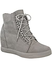 Fashion Thirsty Womens Mid Heel Wedge High Top Ankle Sneakers Lace Up Trainers Boots Size