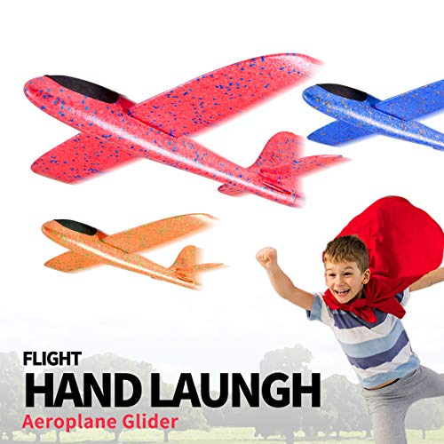 Refasy Foam Airplanes for Kids Children 18.9inch Gliders Airplane Toy Set Hand Throwing Challenging Model Foam Aircarft Two Flight Modes Best Outdoor Sport Flying Plane Toys for Kids Gift Blue by Refasy (Image #1)
