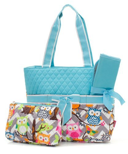 Quilted Owl Chevron Diaper Bag Tq