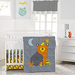 Crib Nursery Reversible Bedding Set Woodland Creatures - Adorable Unisex 3 Piece Crib Bedding Set