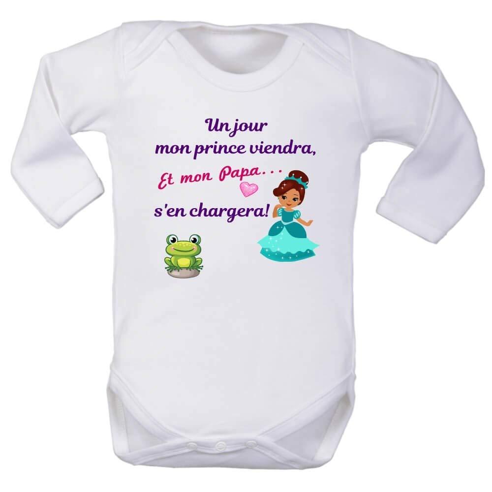 brassi/ère Enfant Touche Pas /à ma Fille Body Fille Princesse p/ère Prince Charmant Manches Longues Papa