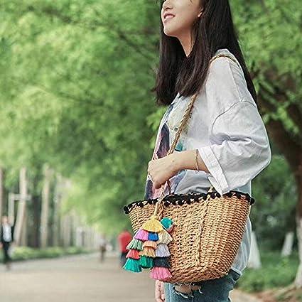 Leisial Llavero de Borla Color Colgante de Pomp/ón Estilo Bohemia para Mujer Accesorios Decoraci/ón para Bolsa Mochila Llave del Coche