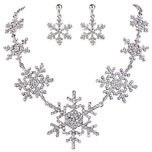EVER FAITH Austrian Crystal Winter Snowflake Bridal Necklace Earrings Set Clear Silver-Tone