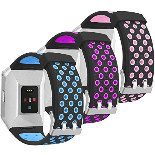SKYLET for Fitbit Ionic Bands, 3 Pack Soft Breathable Accessories Wristbands Fitbit Ionic Bracelet Buckle (No Tracker)[3PC: Black-Blue&Black-Purple&Black-Pink]