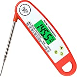 Antonki Meat Thermometer, Smart Auto On Off Long Foldable Probe Instant Read Thermometer Waterproof Digital Electronic Food Thermometers for Kitchen Cooking, Candy, Milk, Water, Grill Smoker
