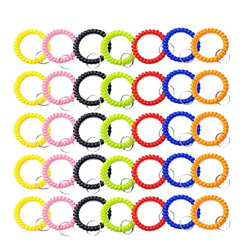 DAILIN 35 PCS Stretchable Plastic Bracelet Wrist Coil Wrist Band Key Ring Chain Holder Tag for Gym, Pool, ID Badge (7 Colors Mixed)