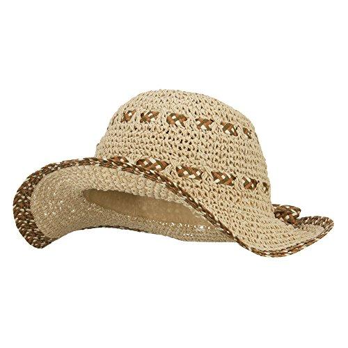 Jeanne Simmons Women's Toyo Braid Floppy Wide Brim Hat - Beige - Wide Toyo Hat Braid
