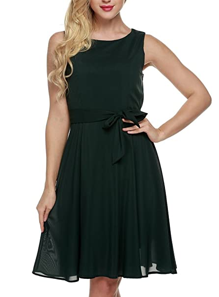 b439174a2b2fa OURS Women's Summer Sleeveless Chiffon Pleated Cocktail Party Dress with  Belt