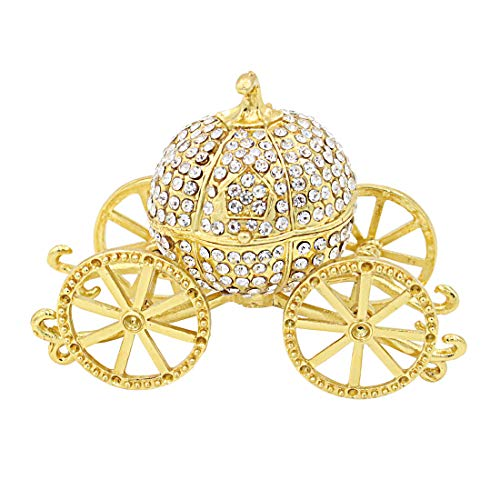 (Hophen Gold Pumpkin Carriage Decorative Rhinestones Hinged Jewelry Trinket Box Figurine Collectible Ornament)