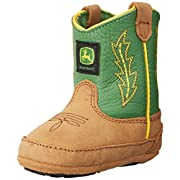 John Deere 186 Western Boot (Infant/Toddler),Tan/Green,3 M US Infant