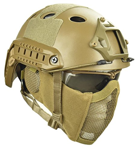 Jadedragon PJ Tactical Fast Helmet & Protect ear Foldable Double straps Half Face Mesh Mask & Goggle (Tan) ()