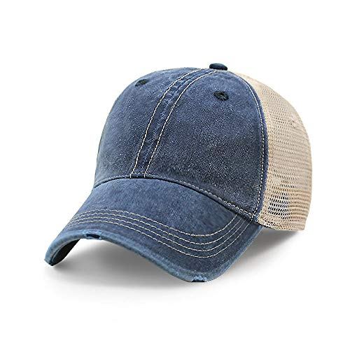 Vintage Distressed Trucker Hat I Adjustable Back I Unisex Headwear (Navy)