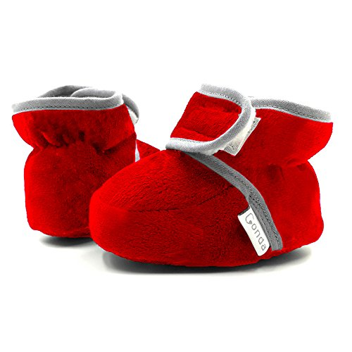 CONDA Baby Booties Girl & Boy Infant Fleece Slippers - Red Soft Cozy and Colorful Baby Shoes 6-18 Months