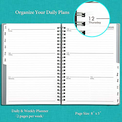2020 Planner - Weekly & Monthly Planner with Tabs, Elastic Closure and Thick Paper, Back Pocket with 21 Notes Pages, 6.25 x 8.3