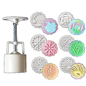 Bigear 50g 6 Styles Hand Made ice Moon Cake Mooncake Decoration Mold Mould Flowers Round DIY Tools (Flower Pattern 2)