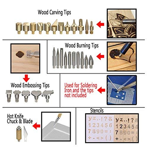 Uolor 45 Pcs Wood Burning Kit, Pyrography Wood Burner Set with Adjustable  Temperature Woodburning Pen, Embossing/Carving/Soldering Tips, 4 Stencils,  2