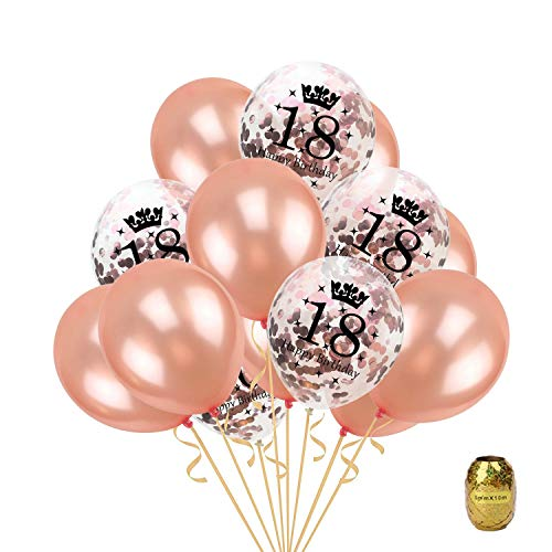 16 Pcs 18th Birthday Party Rose Gold Balloon,Confetti Balloons Latex Balloon Printed with Happy Birthday and Number of 18,12 inch Perfect for Birthdays Party,1 Pack Random Color String]()