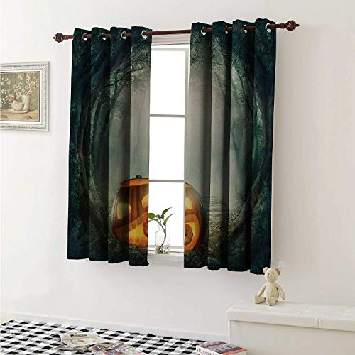 shenglv Halloween Drapes for Living Room Drawing of Scary Halloween Pumpkin Enchanted Forest Mystic Twilight Party Art Curtains Kitchen Window W96 x L72 Inch Orange Teal]()