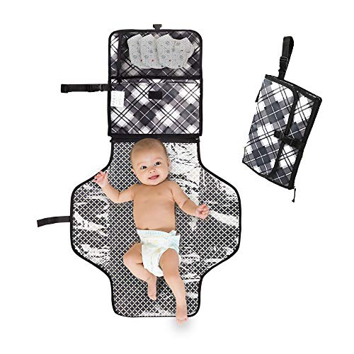 Portable Changing Pad – Baby Diaper Clutch – Lightweight Travel Station Kit for Baby Diapering – Detachable and Wipeable Mat – Mesh and Zippered Pockets -Gingham Print