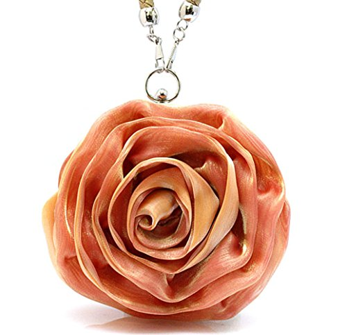 Lovely Women Orange Flower Evening Eleoption Clutch Handbag Satin Bag dqSAw6