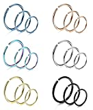 #5: Roberly 6-18 Pcs Stainless Steel Nose Hoop Studs Ring for Women Body Piercing