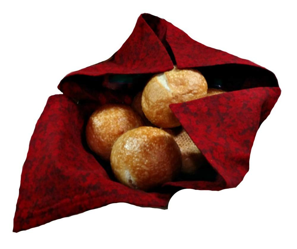 Basket Liner and Warmer for Breads and Rolls in Deep Burgundy Red Fabric, Handmade
