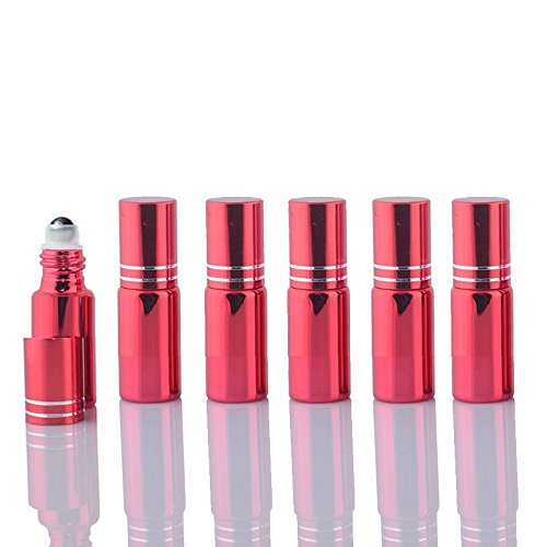 Red Fragrance Oil (10 Sets Colored 5ml UV Coated Glass Roller Ball Refillable Rollon Bottles Grand Parfums with Stainless Steel Rollers for Essential Oil, Serums, Fragrance (Red))