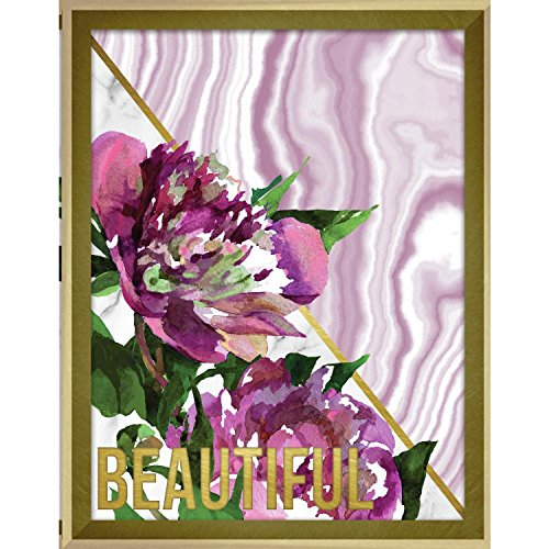 (Linden Ave AVE10387 Beautiful Marble and Watercolor Peonies Framed Wall Art)