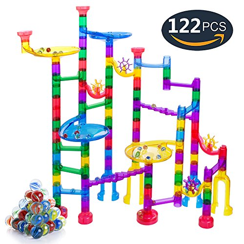 Marble Run Sets for Kids, 90 Translucent Marbulous Pieces + 32 Glass Marbles, Giant Marble Race Track Game STEM Building Blocks, Educational Construction Toys Marble Maze for Kids 4 5 (Marble Run Game)