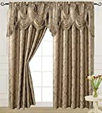 """Light Taupe Curtain Panel with Attached Waterfall Valance 54"""" X 84"""" Tkdecor"""