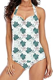 KISSMODA Women's One Piece Swimsuits Elegant Inspired Vintage Tummy Control Swimwear Shirred Bathing S