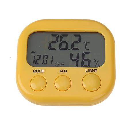 Starnearby Reloj Despertador Digital LCD retroiluminado para Interiores y Exteriores, medidor de Temperatura y Humedad