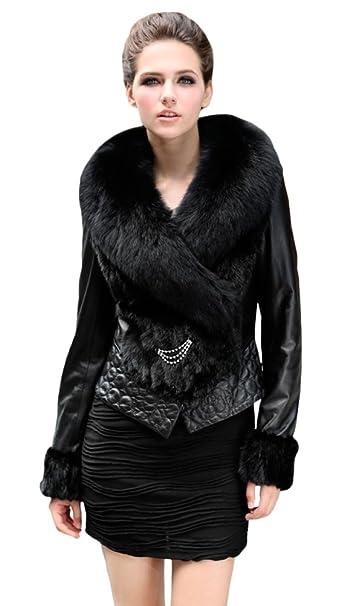 Queenshiny mujer 100% auténtico piel oveja y de visón Abrigo ...