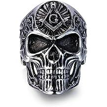 Men's Skull Rings Stainless Steel Masonic Freemason Band Biker Ring Black Silver
