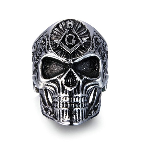 Men's Skull Rings Stainless Steel Masonic Freemason Band Biker Ring Black Silver Size 8