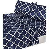 4 Piece Bed Sheets Set, 1 Flat Sheet 1 Fitted Sheet and 2 Pillow Cases - Hotel Quality Brushed Velvety Microfiber - Luxurious - Extremely Durable - by Utopia Bedding (Navy)