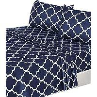 Utopia Bedding Juego de sábanas de 4 piezas (reina, azul marino) 1 sábana plana, 1 sábana ajustable y 2 fundas de almohada