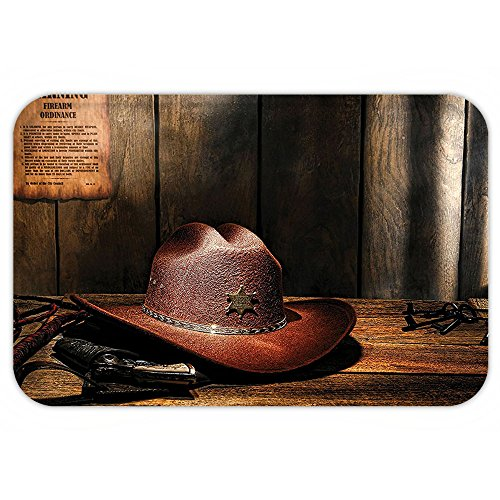 Felt Purple Star Wand (Kisscase Custom Door MatWestern Decor Felt Western Hat on Sheriff Table with Old Lawman Gun and Bullwhip Jail Artwork Brown)