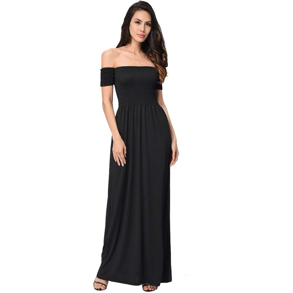 SADUORHAPPY Women Backless Dress Womens Off Shoulder Summer Beach Holiday Evening Party Long Pleated Dress by SADUORHAPPY Dress