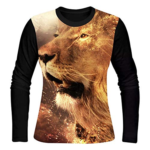 (HNkiha Women's 3D Printed Casual T-Shirt Fantasy Fire Lion Face Long Sleeve Summer Graphic Creative Shirts)