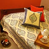 Morning Dew ~ Stylish Elegant Yellow Blue French Twin Bedspread 70x90