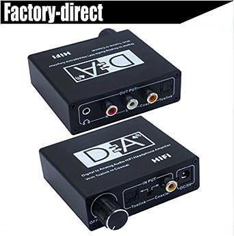 Digital óptico Cable de audio analógico convertidor bidireccional, HiFi Amplificador de auriculares Audio de 2 Vías Toslink a Coaxial conversor por ...