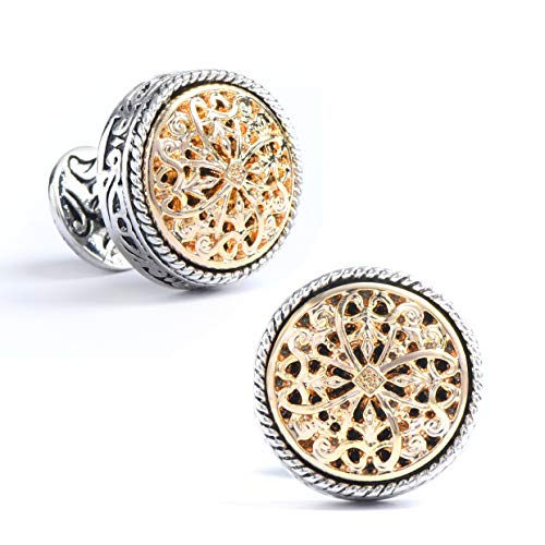 Silver Clover Men's Vintage Handcrafted Platinum-plated with Diamond Gannicus Cross Cufflinks, Gift Box Included (Platinum Mens Cufflinks)