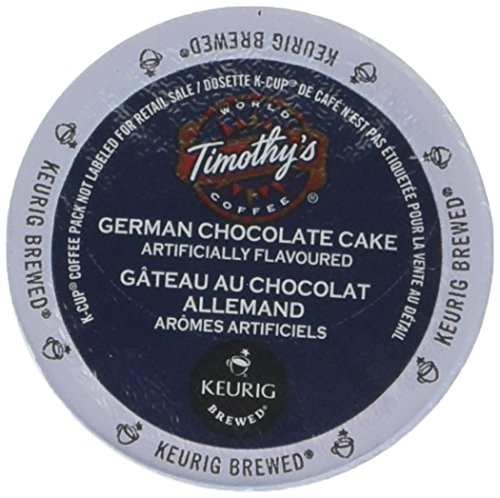 Timothy's German Chocolate Cake Flavored Coffee 1 Box of 24 K-Cups
