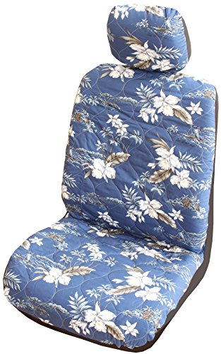 Winnie Fashion Set of 2 - Side Airbag Compatible; Navy Orchid Hawaiian Separate Headrest Car Seat Cover; Made in Hawaii