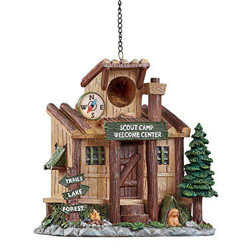 Collections Etc Rustic Scout Camp Sculpted Resin Birdhouse Woodland Cabin Décor Outdoor Decoration